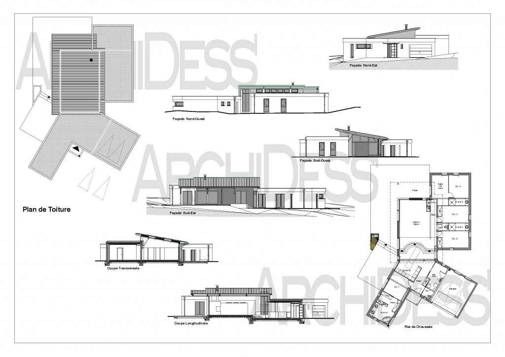 plan maison contemporaine rennes